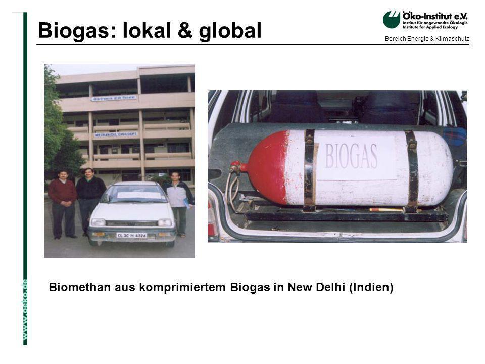 o.de Bereich Energie & Klimaschutz Biomethan aus komprimiertem Biogas in New Delhi (Indien) Biogas: lokal & global
