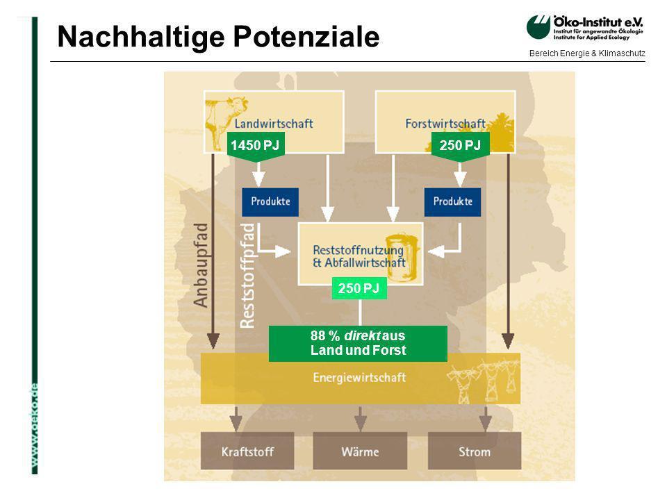 o.de Bereich Energie & Klimaschutz Nachhaltige Potenziale 88 % direkt aus Land und Forst 250 PJ 1450 PJ 250 PJ