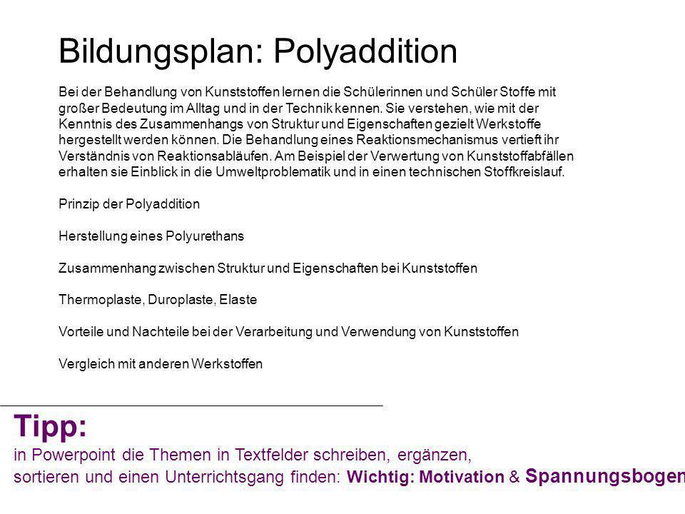 Polyaddition Experiment: Thermisches und mechanisches Verhalten von Kunststoffproben Vorteile eines Polyurethanschaums beim Innenausbau z.B.