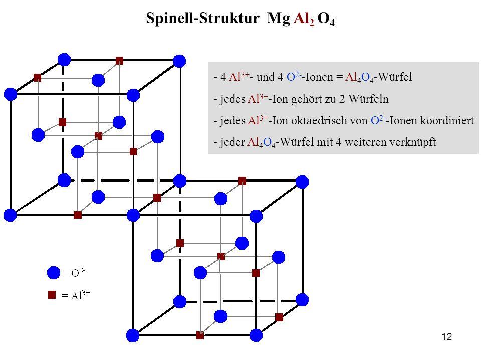 12 - 4 Al 3+ - und 4 O 2- -Ionen = Al 4 O 4 -Würfel - jedes Al 3+ -Ion gehört zu 2 Würfeln - jedes Al 3+ -Ion oktaedrisch von O 2- -Ionen koordiniert