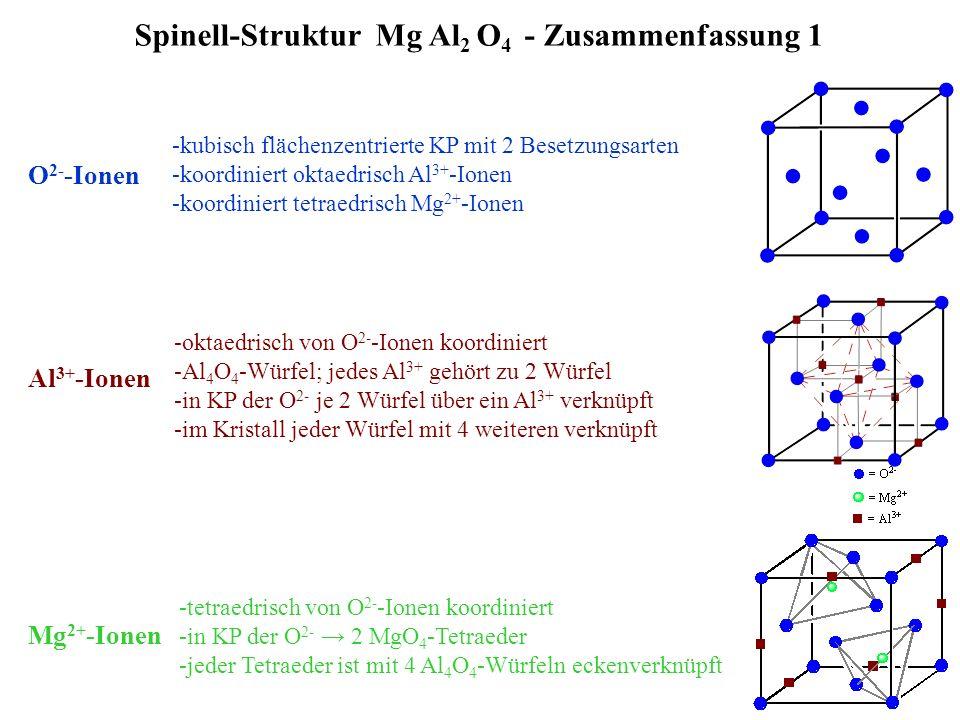 23 Spinell-Struktur Mg Al 2 O 4 - Zusammenfassung 1 O 2- -Ionen -kubisch flächenzentrierte KP mit 2 Besetzungsarten -koordiniert oktaedrisch Al 3+ -Io