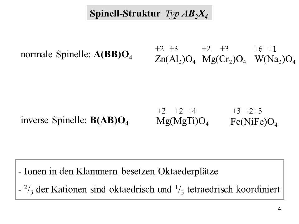 25 1 / 8 der Tetraederlücken mit Mg 2+ besetzt ½ der Oktaederlücken mit Al 3+ besetzt Wie viel Tetraeder- und Oktaederplätze sind von Bausteinen im Spinell besetzt.