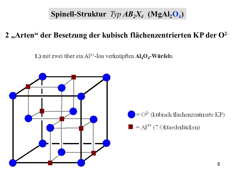 9 Spinell-Struktur Typ AB 2 X 4 (MgAl 2 O 4 ) 2 Arten der Besetzung der kubisch flächenzentrierten KP der O 2- 1.) mit zwei über ein Al 3+ -Ion verknü