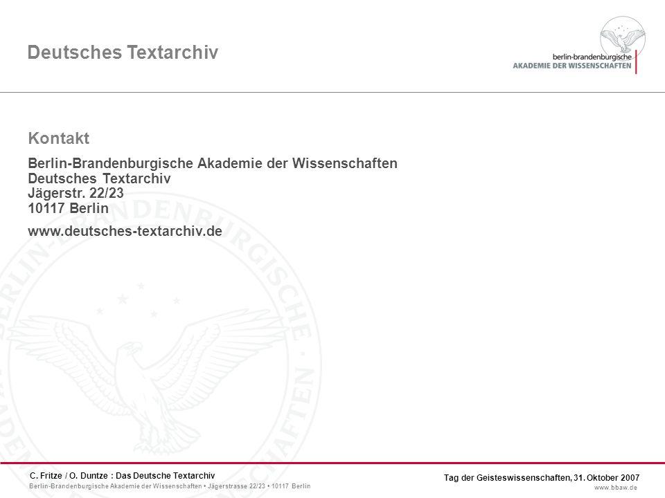 Berlin-Brandenburgische Akademie der Wissenschaften Jägerstrasse 22/23 10117 Berlin www.bbaw.de C.