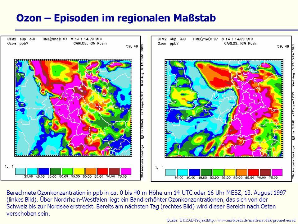 Ozon – Episoden im regionalen Maßstab Berechnete Ozonkonzentration in ppb in ca. 0 bis 40 m Höhe um 14 UTC oder 16 Uhr MESZ, 13. August 1997 (linkes B
