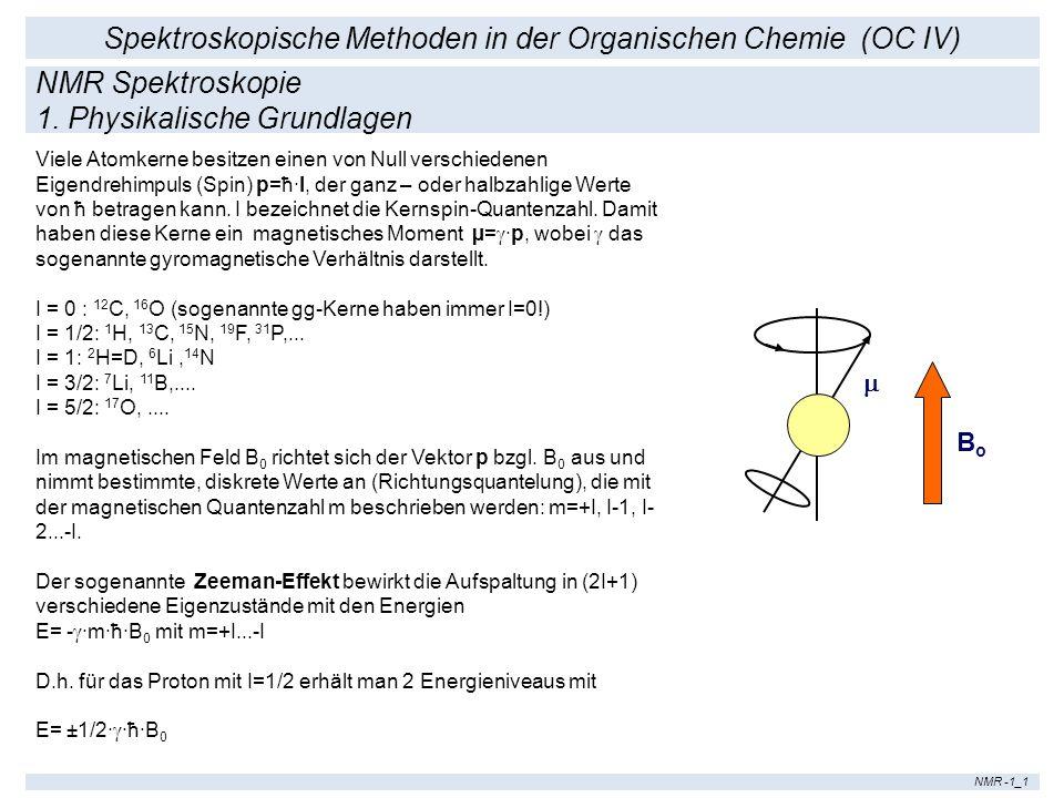 Spektroskopische Methoden in der Organischen Chemie (OC IV) NMR -1_1 Viele Atomkerne besitzen einen von Null verschiedenen Eigendrehimpuls (Spin) p=ħ·