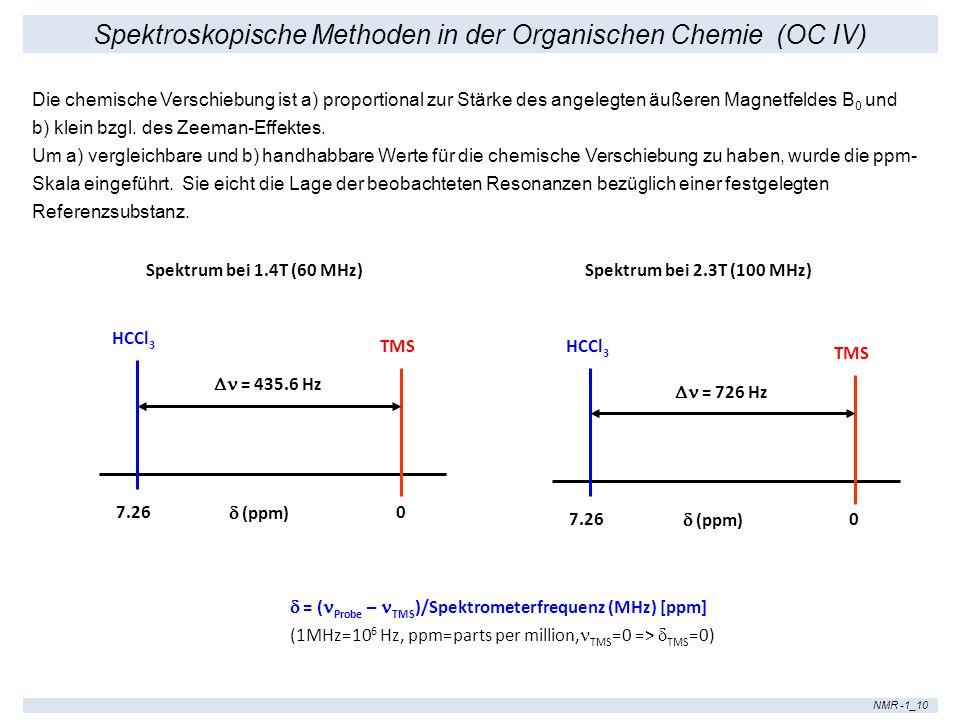 Spektroskopische Methoden in der Organischen Chemie (OC IV) NMR -1_10 Die chemische Verschiebung ist a) proportional zur Stärke des angelegten äußeren