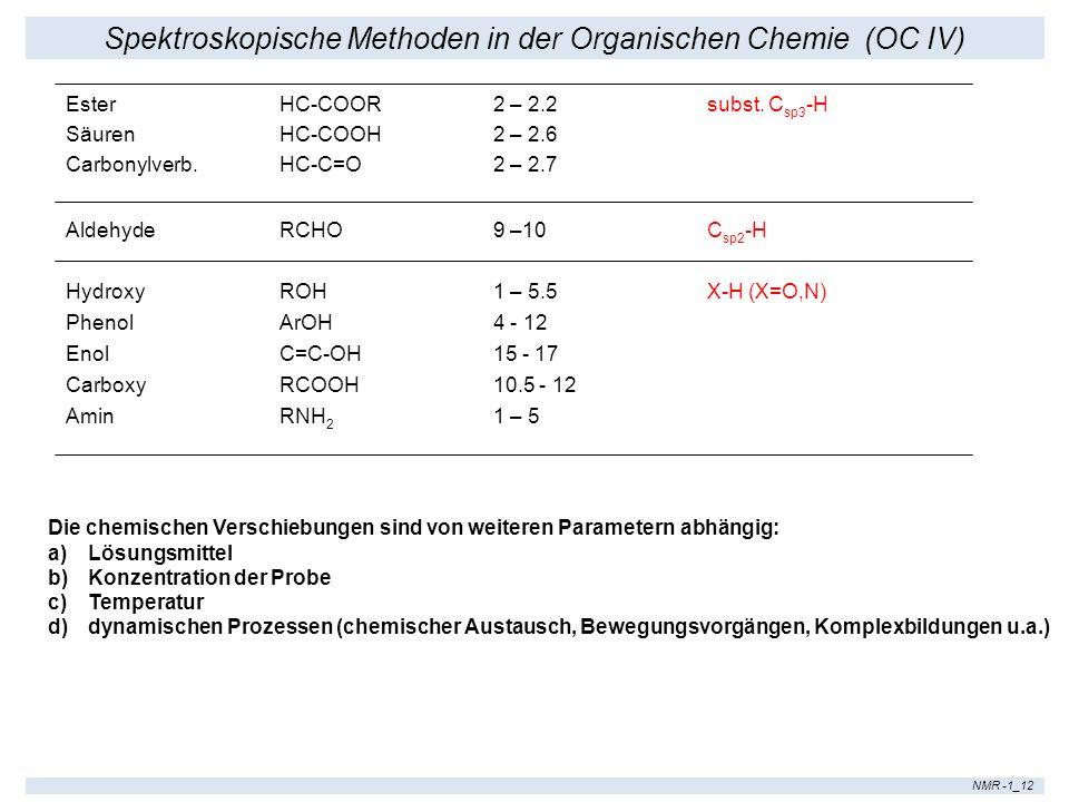 Spektroskopische Methoden in der Organischen Chemie (OC IV) NMR -1_12 EsterHC-COOR2 – 2.2 subst. C sp3 -H SäurenHC-COOH2 – 2.6 Carbonylverb.HC-C=O2 –