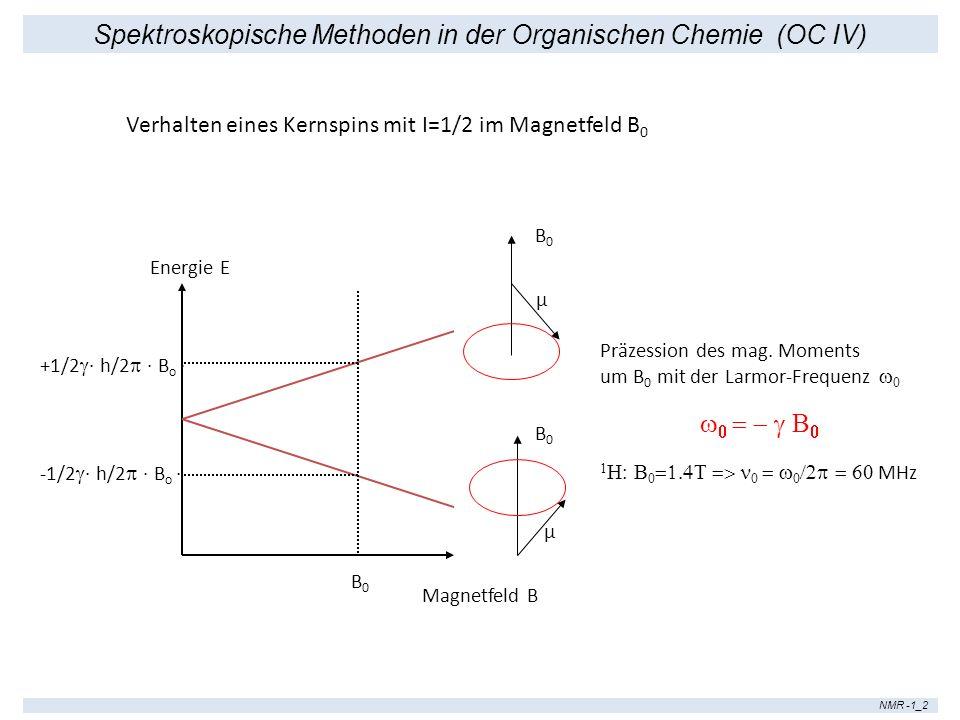 Spektroskopische Methoden in der Organischen Chemie (OC IV) NMR -1_2 Energie E Magnetfeld B B0B0 B0B0 B0B0 +1/2 · h/2 · B o · -1/2 · h/2 · B o · Verha