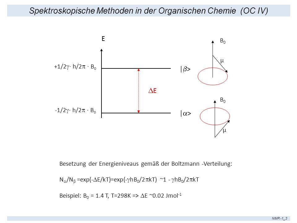 Spektroskopische Methoden in der Organischen Chemie (OC IV) NMR -1_3 E +1/2 · h/2 · B o -1/2 · h/2 · B o | > E Besetzung der Energieniveaus gemäß der