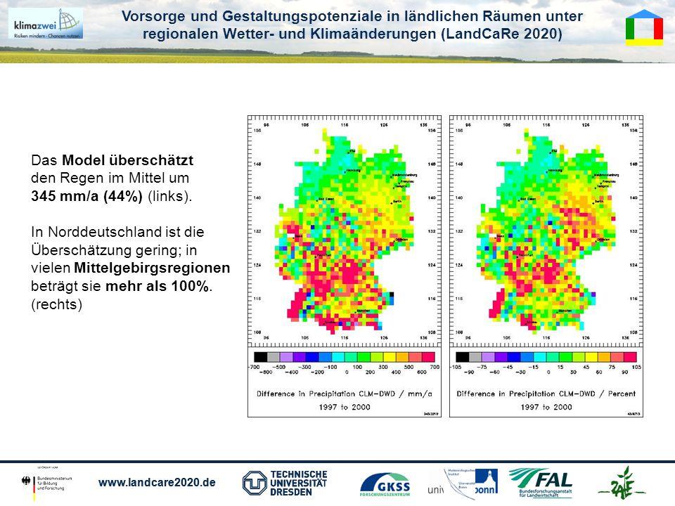 Vorsorge und Gestaltungspotenziale in ländlichen Räumen unter regionalen Wetter- und Klimaänderungen (LandCaRe 2020) www.landcare2020.de Vorsorge und Gestaltungspotenziale in ländlichen Räumen unter regionalen Wetter- und Klimaänderungen (LandCaRe 2020) www.landcare2020.de Das Model überschätzt den Regen im Mittel um 345 mm/a (44%) (links).