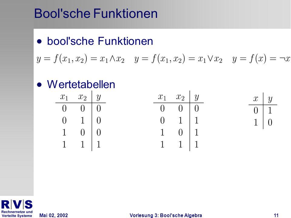 Mai 02, 2002Vorlesung 3: Bool sche Algebra11 Bool sche Funktionen bool sche Funktionen Wertetabellen