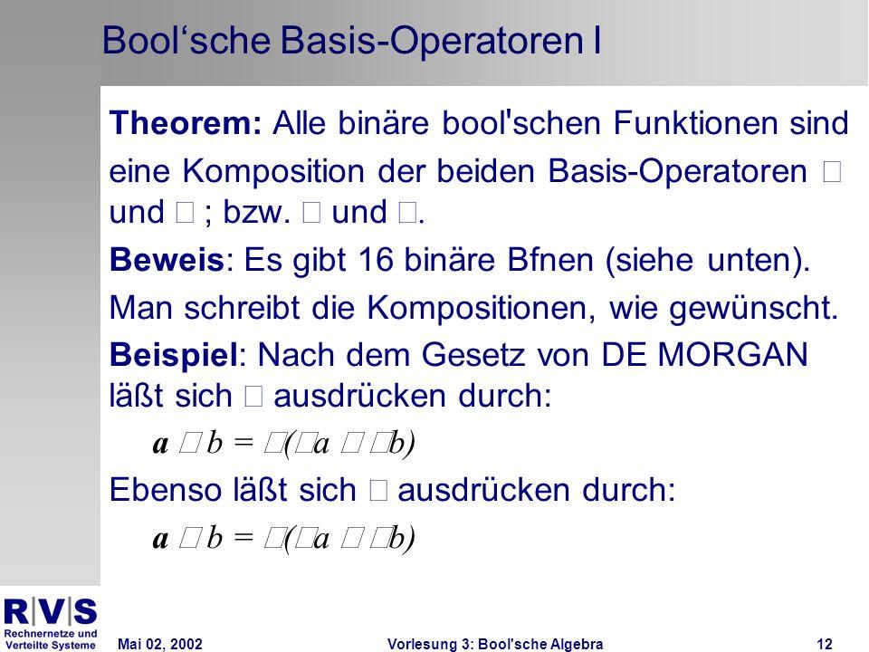 Mai 02, 2002Vorlesung 3: Bool sche Algebra12 Boolsche Basis-Operatoren I Theorem: Alle binäre bool schen Funktionen sind eine Komposition der beiden Basis-Operatoren und ; bzw.