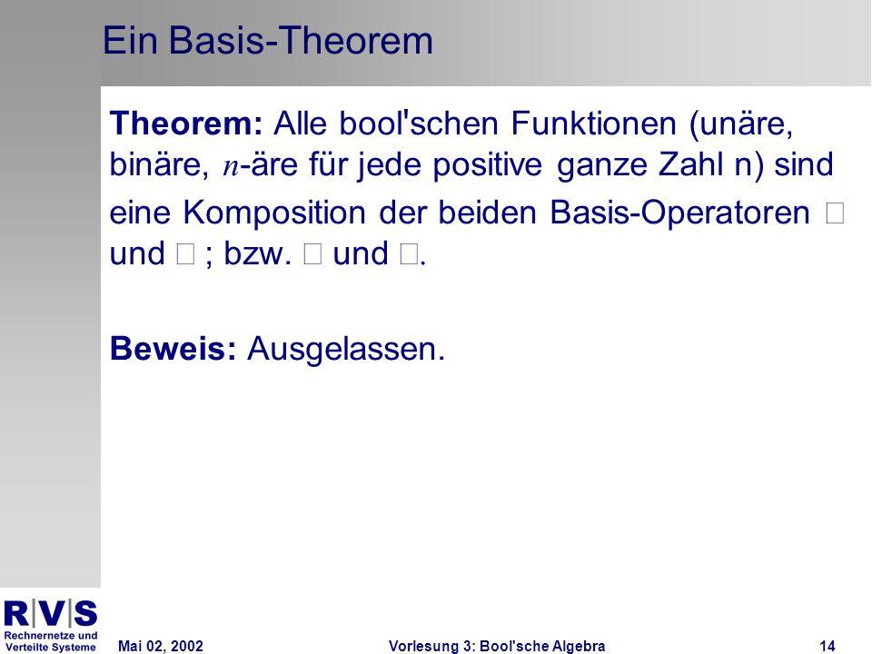 Mai 02, 2002Vorlesung 3: Bool sche Algebra14 Ein Basis-Theorem Theorem: Alle bool schen Funktionen (unäre, binäre, n -äre für jede positive ganze Zahl n) sind eine Komposition der beiden Basis-Operatoren und ; bzw.