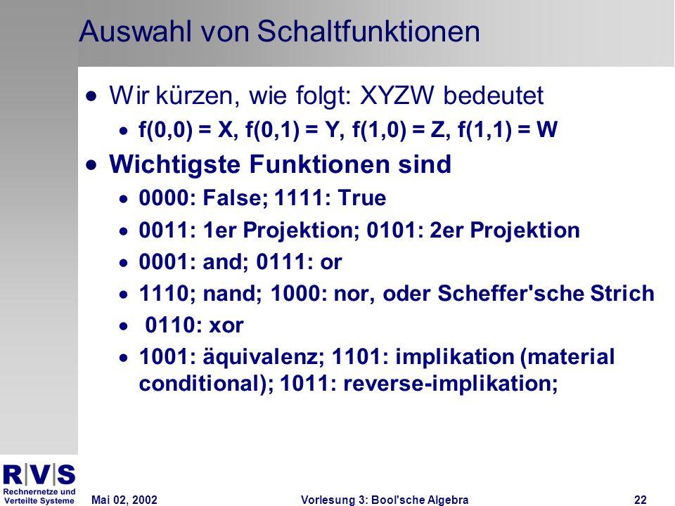 Mai 02, 2002Vorlesung 3: Bool sche Algebra22 Auswahl von Schaltfunktionen Wir kürzen, wie folgt: XYZW bedeutet f(0,0) = X, f(0,1) = Y, f(1,0) = Z, f(1,1) = W Wichtigste Funktionen sind 0000: False; 1111: True 0011: 1er Projektion; 0101: 2er Projektion 0001: and; 0111: or 1110; nand; 1000: nor, oder Scheffer sche Strich 0110: xor 1001: äquivalenz; 1101: implikation (material conditional); 1011: reverse-implikation;