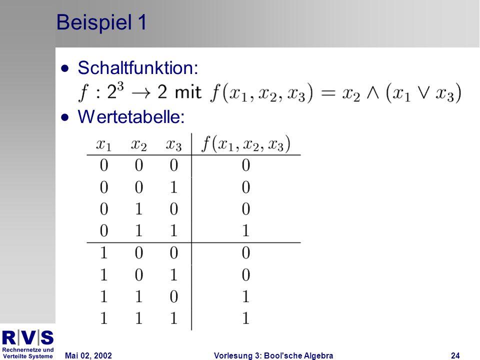 Mai 02, 2002Vorlesung 3: Bool sche Algebra24 Beispiel 1 Schaltfunktion: Wertetabelle: