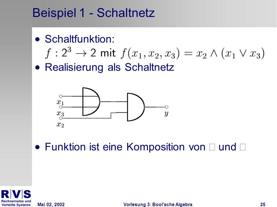 Mai 02, 2002Vorlesung 3: Bool sche Algebra25 Beispiel 1 - Schaltnetz Schaltfunktion: Realisierung als Schaltnetz Funktion ist eine Komposition von und