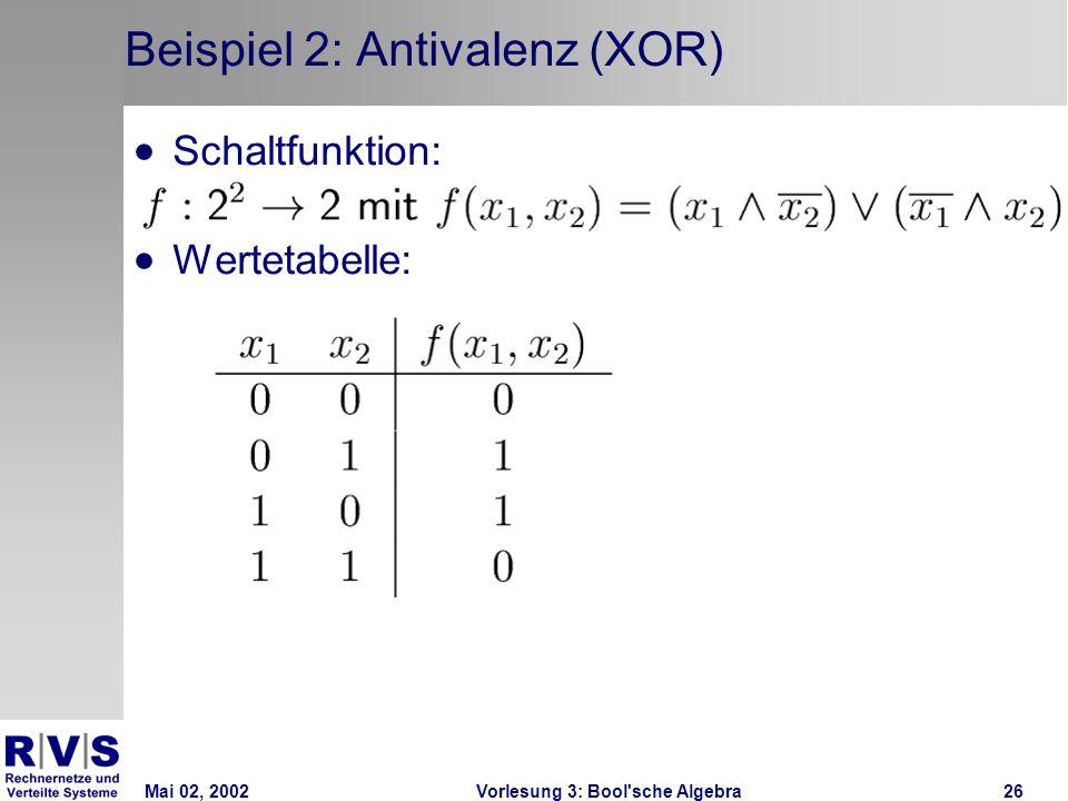 Mai 02, 2002Vorlesung 3: Bool sche Algebra26 Beispiel 2: Antivalenz (XOR) Schaltfunktion: Wertetabelle: