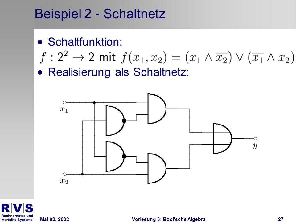 Mai 02, 2002Vorlesung 3: Bool sche Algebra27 Beispiel 2 - Schaltnetz Schaltfunktion: Realisierung als Schaltnetz: