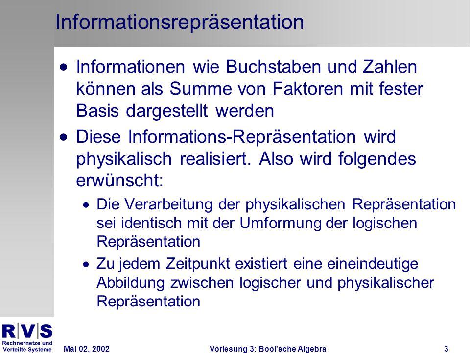 Mai 02, 2002Vorlesung 3: Bool sche Algebra3 Informationsrepräsentation Informationen wie Buchstaben und Zahlen können als Summe von Faktoren mit fester Basis dargestellt werden Diese Informations-Repräsentation wird physikalisch realisiert.
