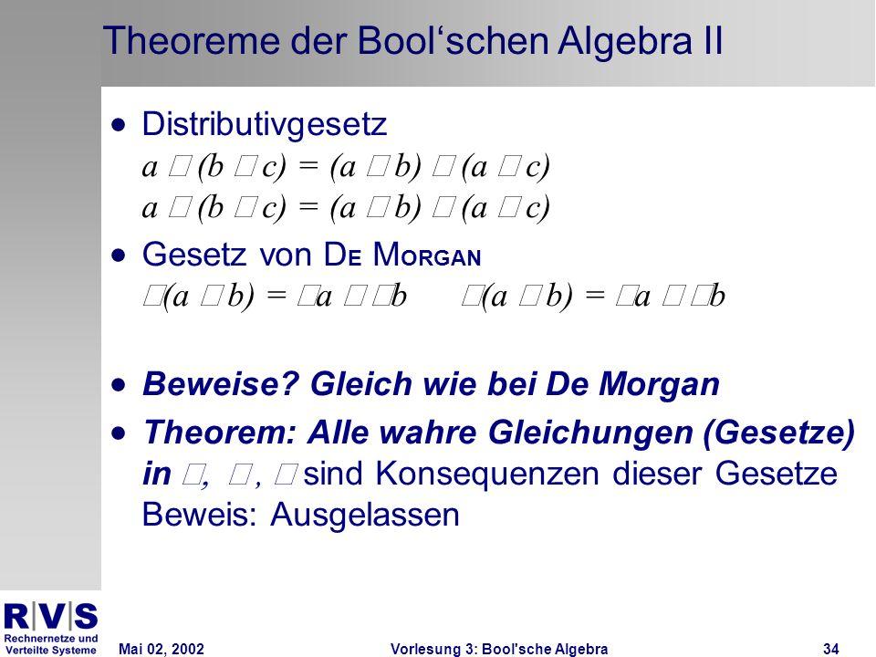 Mai 02, 2002Vorlesung 3: Bool sche Algebra34 Theoreme der Boolschen Algebra II Distributivgesetz a (b c) = (a b) (a c) a (b c) = (a b) (a c) Gesetz von D E M ORGAN (a b) = a b (a b) = a b Beweise.