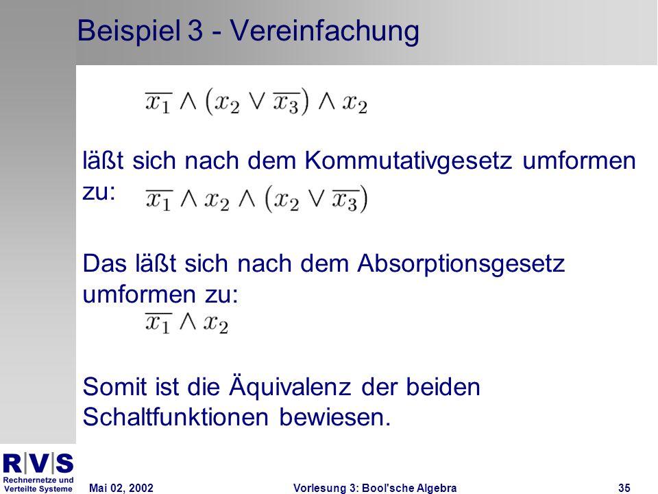 Mai 02, 2002Vorlesung 3: Bool sche Algebra35 Beispiel 3 - Vereinfachung läßt sich nach dem Kommutativgesetz umformen zu: Das läßt sich nach dem Absorptionsgesetz umformen zu: Somit ist die Äquivalenz der beiden Schaltfunktionen bewiesen.