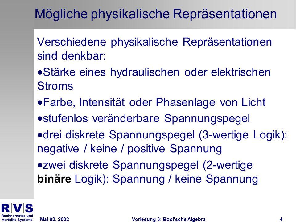 Mai 02, 2002Vorlesung 3: Bool sche Algebra4 Mögliche physikalische Repräsentationen Verschiedene physikalische Repräsentationen sind denkbar: Stärke eines hydraulischen oder elektrischen Stroms Farbe, Intensität oder Phasenlage von Licht stufenlos veränderbare Spannungspegel drei diskrete Spannungspegel (3-wertige Logik): negative / keine / positive Spannung zwei diskrete Spannungspegel (2-wertige binäre Logik): Spannung / keine Spannung