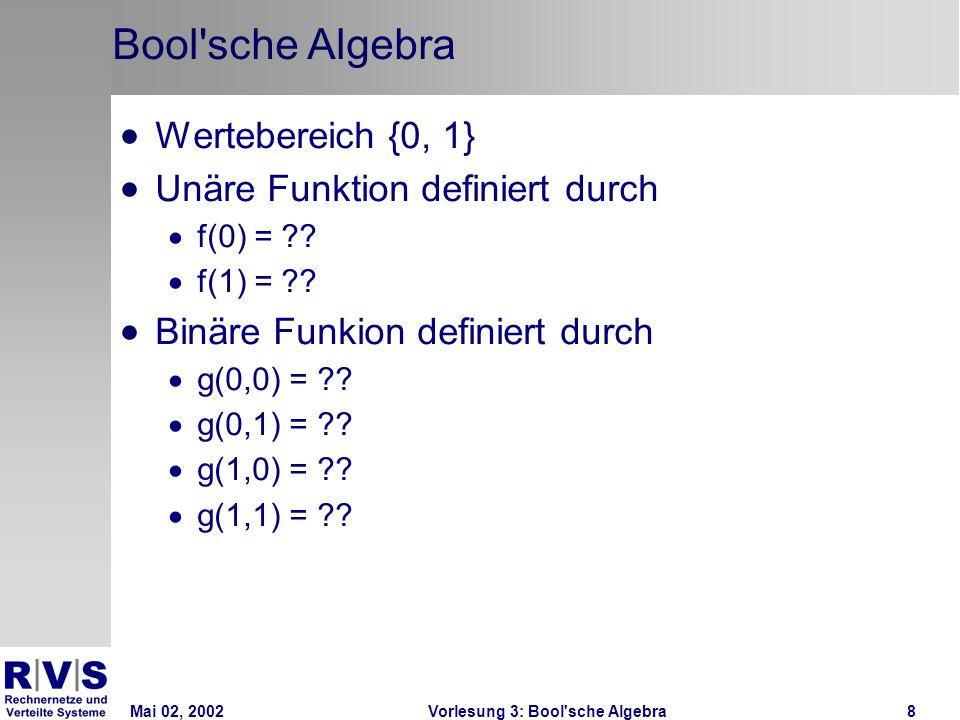 Mai 02, 2002Vorlesung 3: Bool sche Algebra19 Anzahl von Bool sche Funktionen Binäre Schaltfunktionen: Domäne-Wertebereich: {0,1} x {0,1} also exp(2.2) = 4 Elemente Ziel-Wertebereich: {0,1} also zwei Elemente Vier Elemente in der Domäne, jeweils ein Wert aus dem Zielwertebereich und zwei möglich Werte Auswahlsmöglichkeiten also exp(2,4) = 16 binäre Schaltfunktionen
