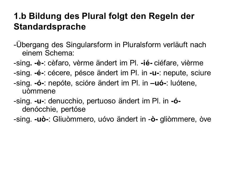 1.b Bildung des Plural folgt den Regeln der Standardsprache -Übergang des Singularsform in Pluralsform verläuft nach einem Schema: -sing. -è-: cèfaro,