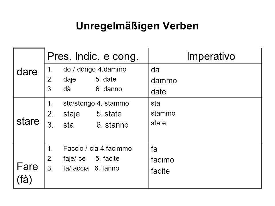 Unregelmäßigen Verben dare Pres. Indic. e cong. Imperativo 1.do`/ dóngo 4.dammo 2.daje 5. date 3.dà 6. danno da dammo date stare 1.sto/stóngo 4. stamm