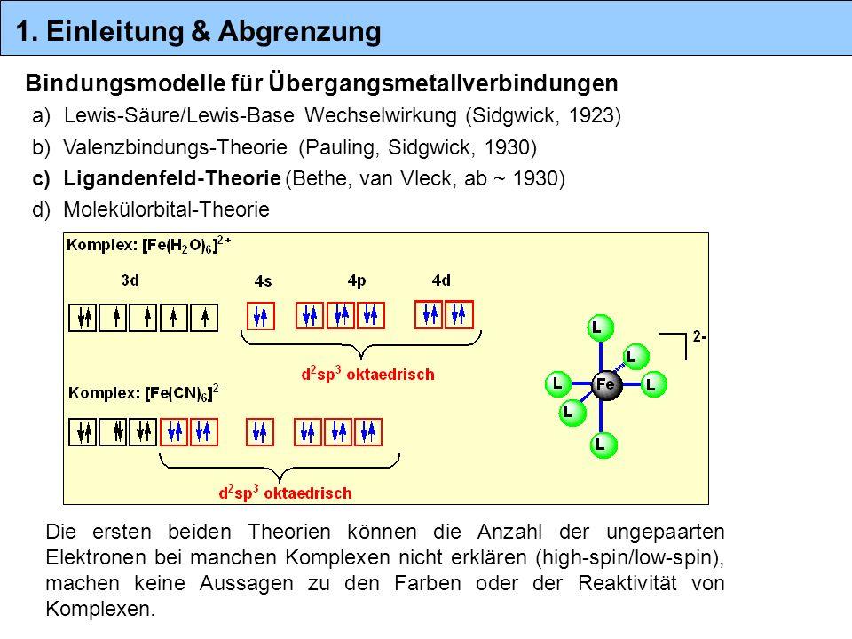Bindungsmodelle für Übergangsmetallverbindungen Die ersten beiden Theorien können die Anzahl der ungepaarten Elektronen bei manchen Komplexen nicht er