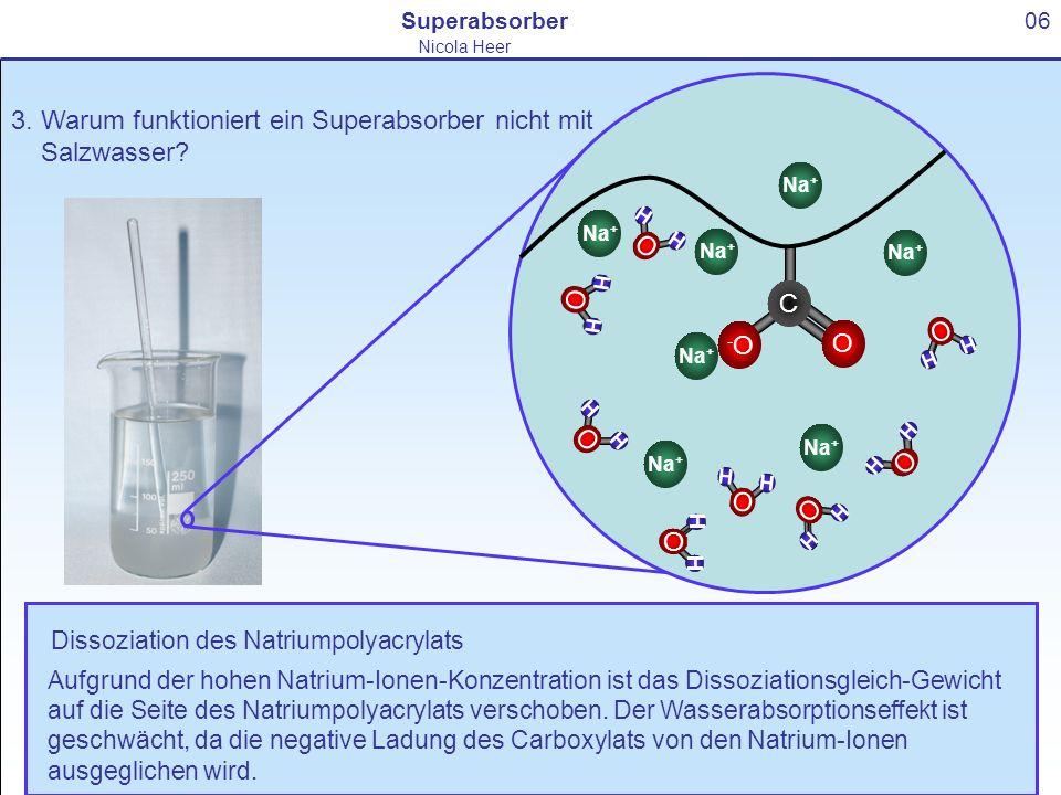3. Warum funktioniert ein Superabsorber nicht mit Salzwasser? 06Superabsorber Nicola Heer O H H C O -O-O Na + O H H O H H O H H Dissoziation des Natri