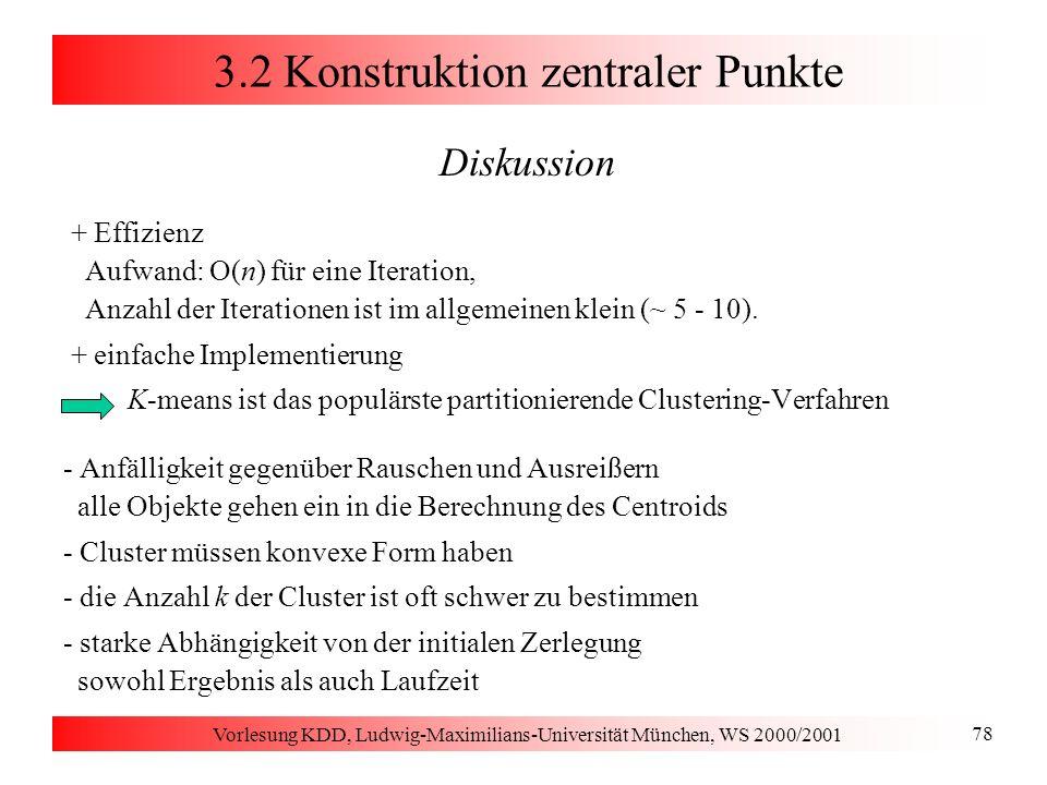 Vorlesung KDD, Ludwig-Maximilians-Universität München, WS 2000/2001 78 3.2 Konstruktion zentraler Punkte Diskussion + Effizienz Aufwand: O(n) für eine