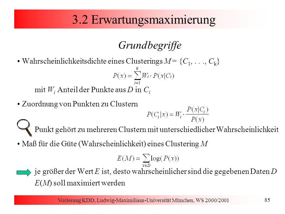 Vorlesung KDD, Ludwig-Maximilians-Universität München, WS 2000/2001 85 3.2 Erwartungsmaximierung Grundbegriffe Wahrscheinlichkeitsdichte eines Cluster