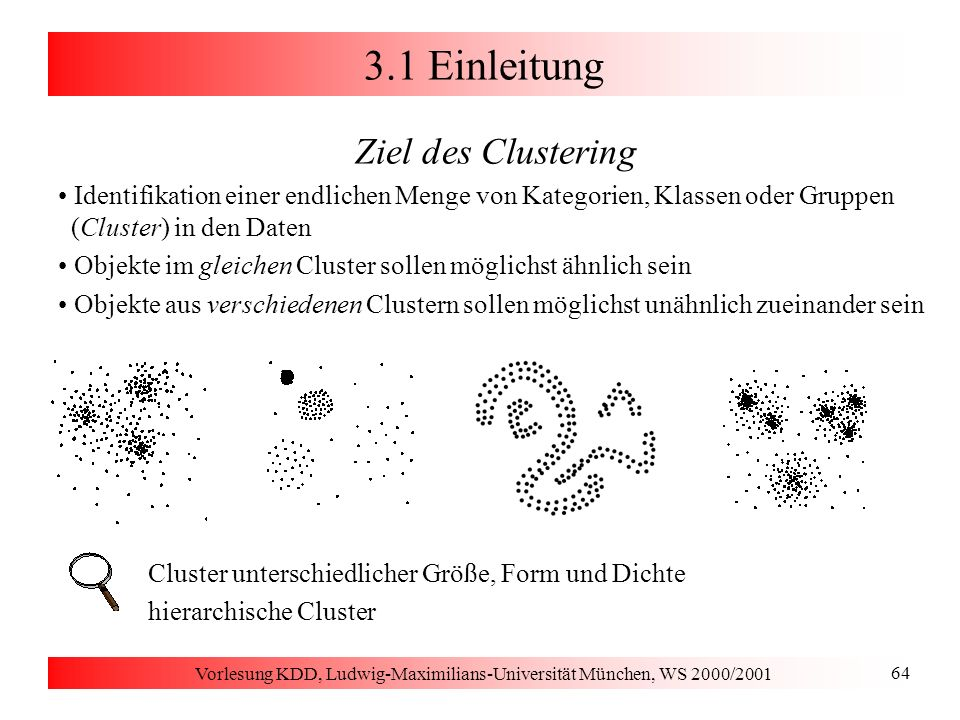 Vorlesung KDD, Ludwig-Maximilians-Universität München, WS 2000/2001 85 3.2 Erwartungsmaximierung Grundbegriffe Wahrscheinlichkeitsdichte eines Clusterings M = {C 1,..., C k } mit W i Anteil der Punkte aus D in C i Zuordnung von Punkten zu Clustern Punkt gehört zu mehreren Clustern mit unterschiedlicher Wahrscheinlichkeit Maß für die Güte (Wahrscheinlichkeit) eines Clustering M je größer der Wert E ist, desto wahrscheinlicher sind die gegebenen Daten D E(M) soll maximiert werden