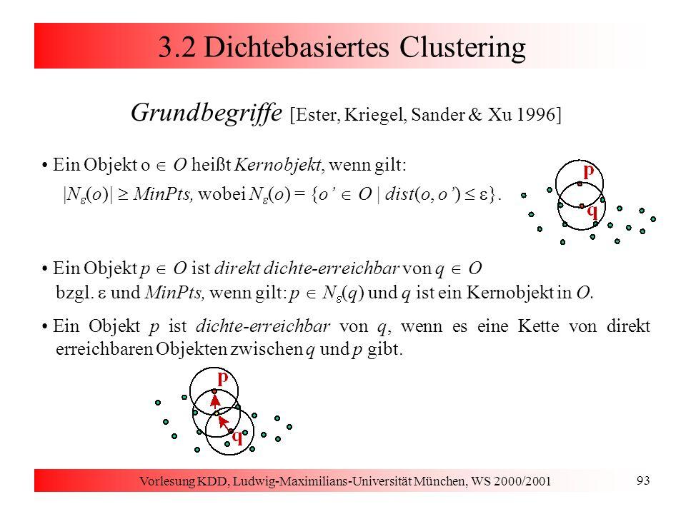 Vorlesung KDD, Ludwig-Maximilians-Universität München, WS 2000/2001 93 3.2 Dichtebasiertes Clustering Grundbegriffe [Ester, Kriegel, Sander & Xu 1996]