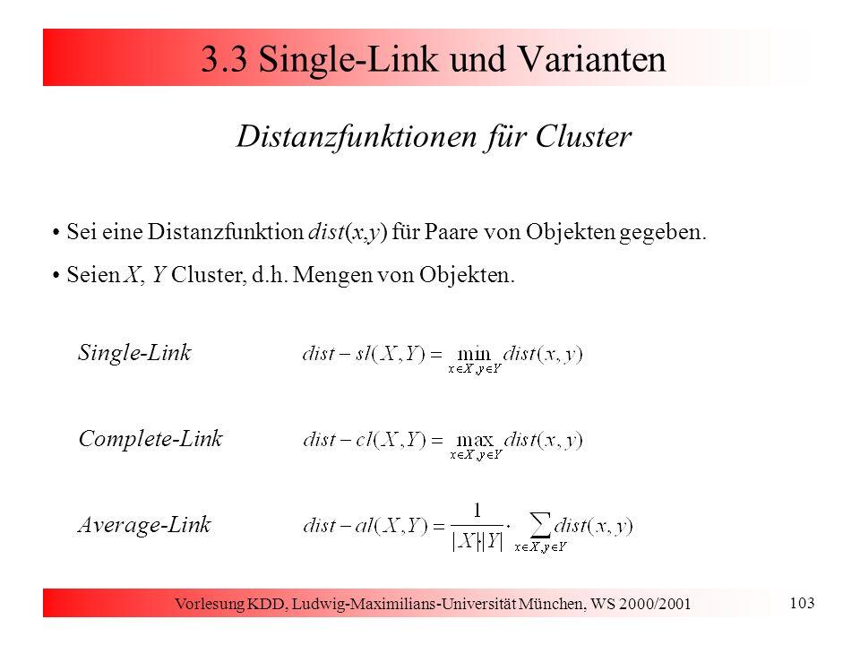 Vorlesung KDD, Ludwig-Maximilians-Universität München, WS 2000/2001 103 3.3 Single-Link und Varianten Distanzfunktionen für Cluster Sei eine Distanzfu