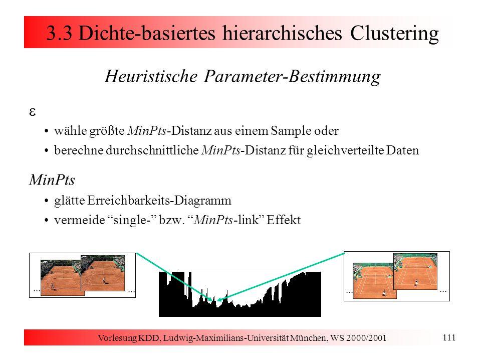 Vorlesung KDD, Ludwig-Maximilians-Universität München, WS 2000/2001 111 3.3 Dichte-basiertes hierarchisches Clustering Heuristische Parameter-Bestimmu