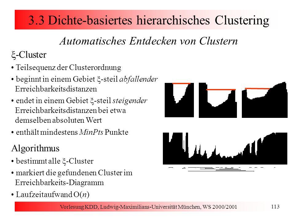 Vorlesung KDD, Ludwig-Maximilians-Universität München, WS 2000/2001 113 3.3 Dichte-basiertes hierarchisches Clustering Automatisches Entdecken von Clu