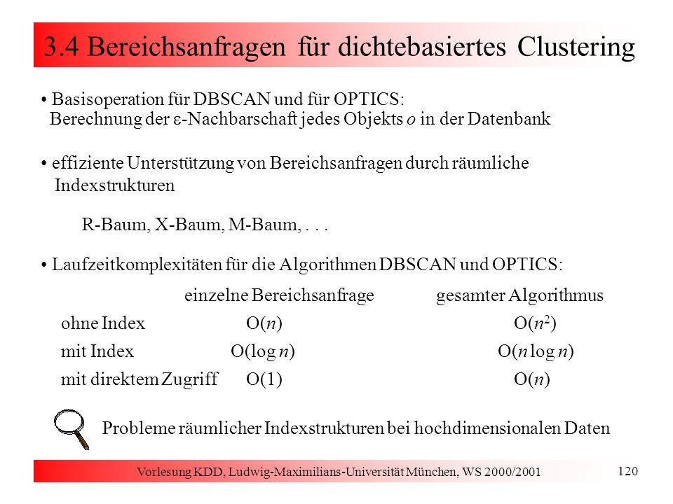 Vorlesung KDD, Ludwig-Maximilians-Universität München, WS 2000/2001 120 3.4 Bereichsanfragen für dichtebasiertes Clustering Basisoperation für DBSCAN