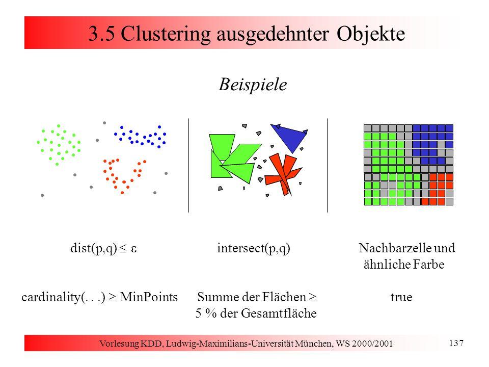 Vorlesung KDD, Ludwig-Maximilians-Universität München, WS 2000/2001 137 3.5 Clustering ausgedehnter Objekte Beispiele dist(p,q) intersect(p,q) Nachbar