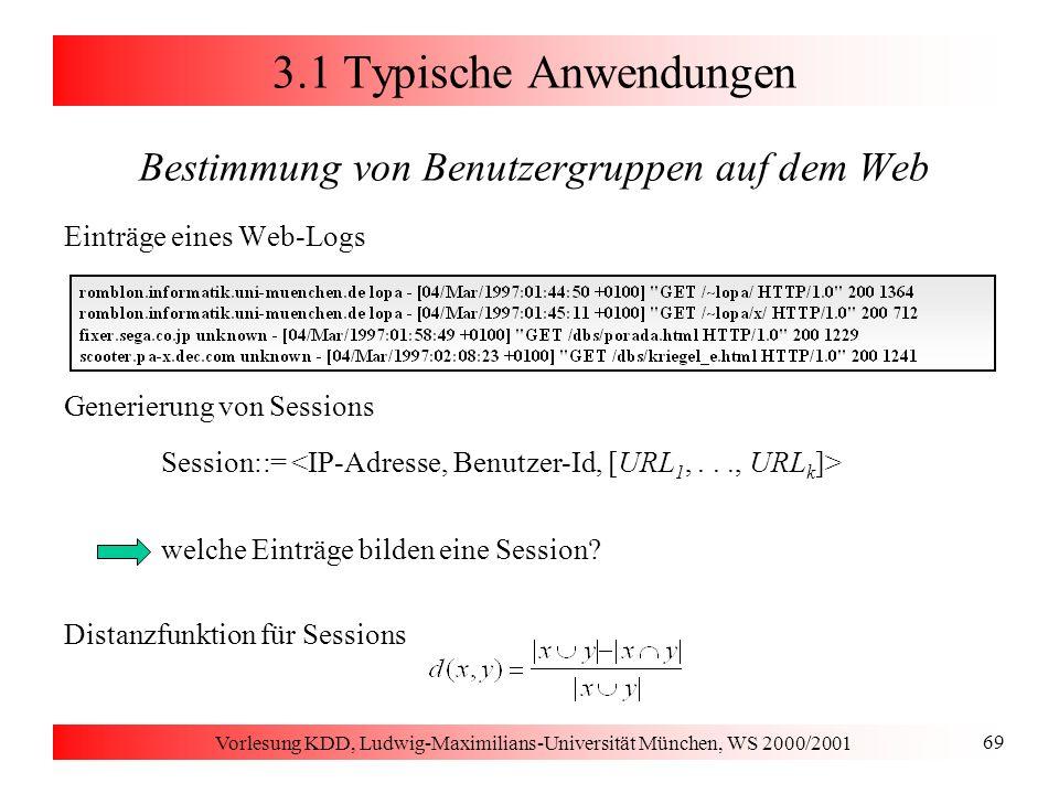 Vorlesung KDD, Ludwig-Maximilians-Universität München, WS 2000/2001 80 3.2 Auswahl repräsentativer Punkte Überblick über die Algorithmen PAM [Kaufman & Rousseeuw 1990] Greedy-Algorithmus: in jedem Schritt wird nur ein Medoid mit einem Nicht-Medoid vertauscht vertauscht in jedem Schritt das Paar (Medoid, Nicht-Medoid), das die größte Reduktion der Kosten TD bewirkt CLARANS [Ng & Han 1994] zwei zusätzliche Parameter: maxneighbor und numlocal höchstens maxneighbor viele von zufällig ausgewählten Paaren (Medoid, Nicht-Medoid) werden betrachtet die erste Ersetzung, die überhaupt eine Reduzierung des TD-Wertes bewirkt, wird auch durchgeführt die Suche nach k optimalen Medoiden wird numlocal mal wiederholt