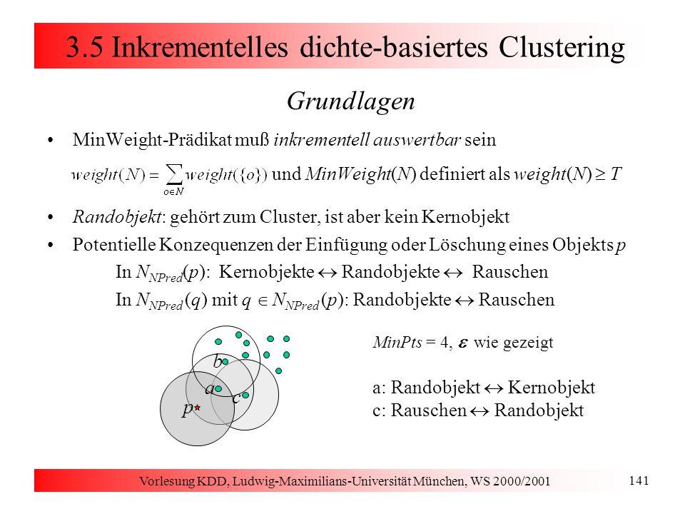 Vorlesung KDD, Ludwig-Maximilians-Universität München, WS 2000/2001 141 p a b c 3.5 Inkrementelles dichte-basiertes Clustering Grundlagen MinWeight-Pr