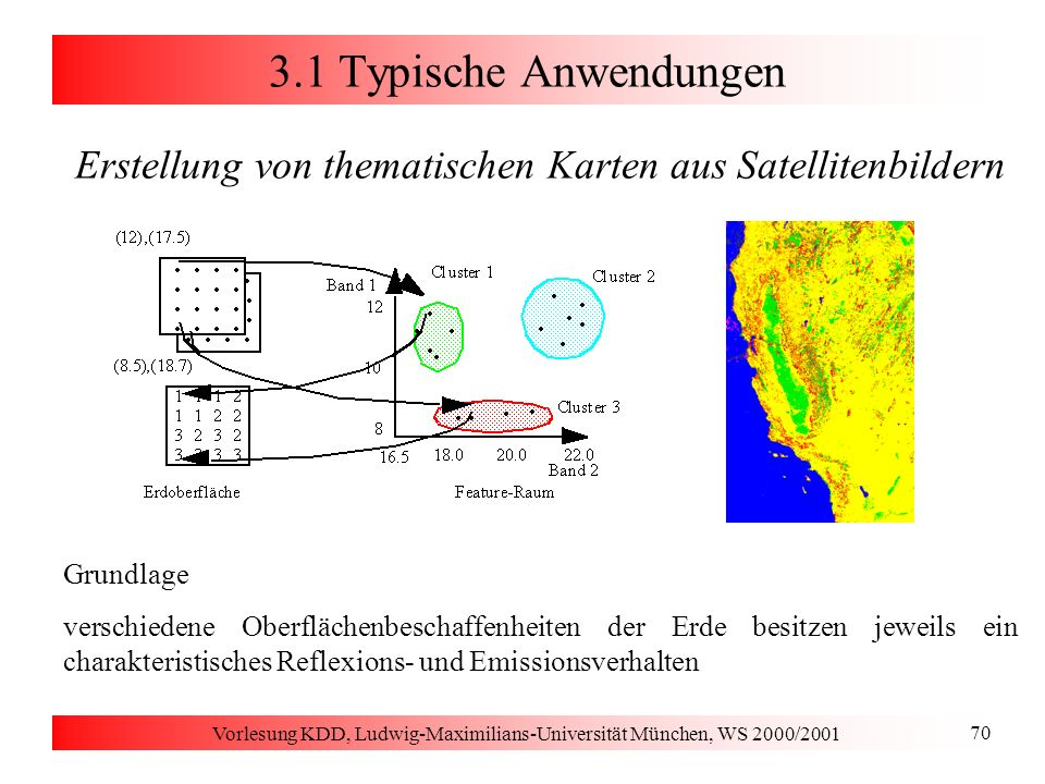 Vorlesung KDD, Ludwig-Maximilians-Universität München, WS 2000/2001 70 3.1 Typische Anwendungen Erstellung von thematischen Karten aus Satellitenbilde