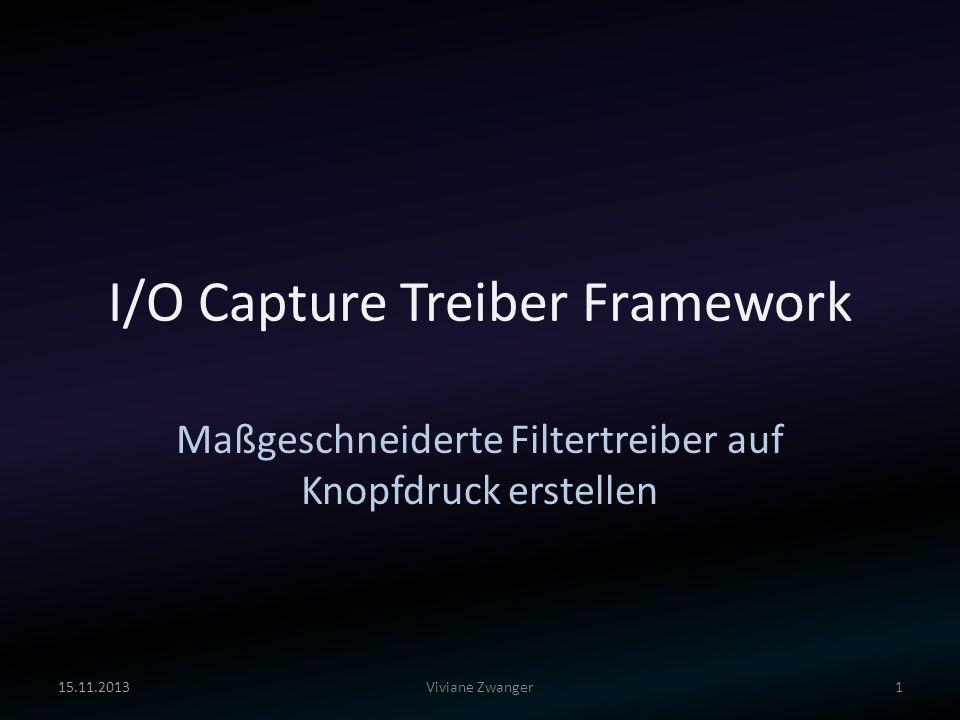 I/O Capture Treiber Framework Maßgeschneiderte Filtertreiber auf Knopfdruck erstellen 15.11.20131Viviane Zwanger