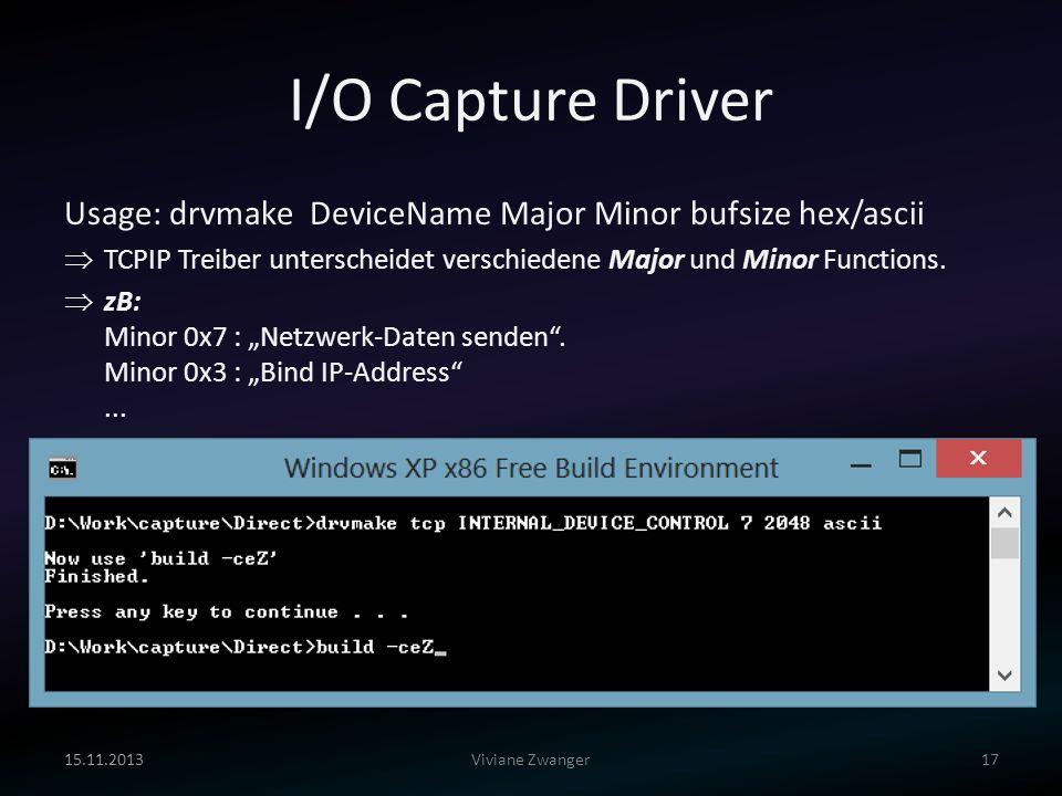I/O Capture Driver 15.11.201317Viviane Zwanger Usage: drvmake DeviceName Major Minor bufsize hex/ascii TCPIP Treiber unterscheidet verschiedene Major
