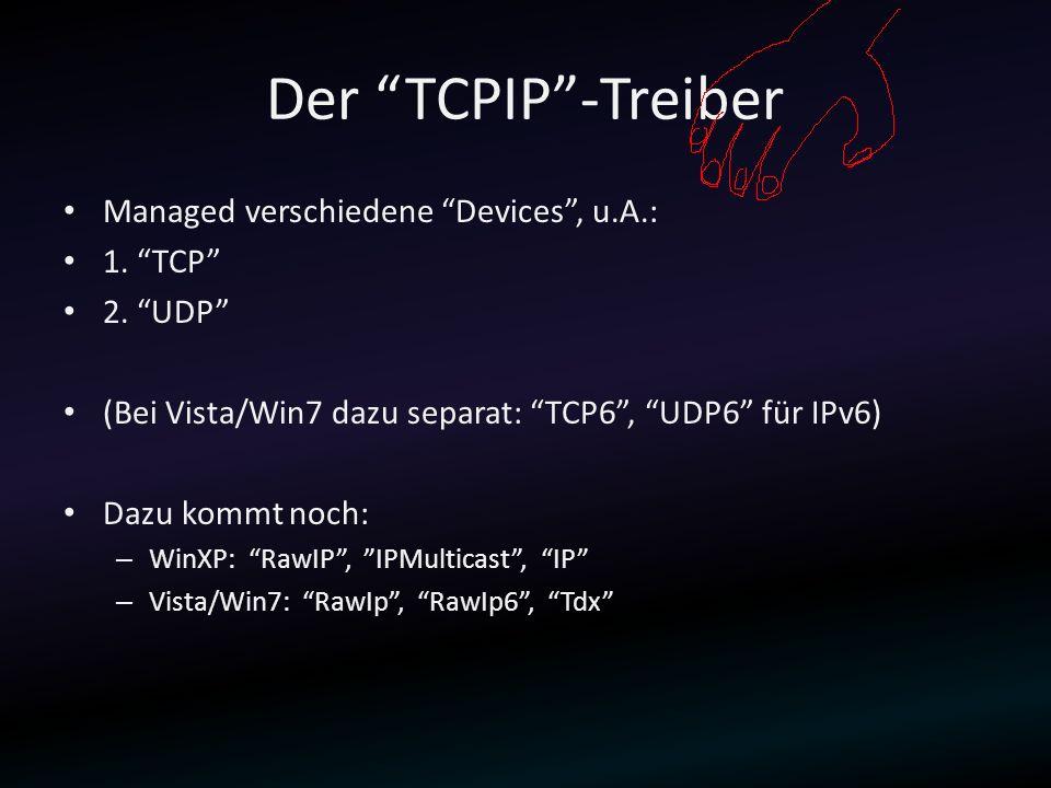 Der TCPIP-Treiber Managed verschiedene Devices, u.A.: 1. TCP 2. UDP (Bei Vista/Win7 dazu separat: TCP6, UDP6 für IPv6) Dazu kommt noch: – WinXP: RawIP