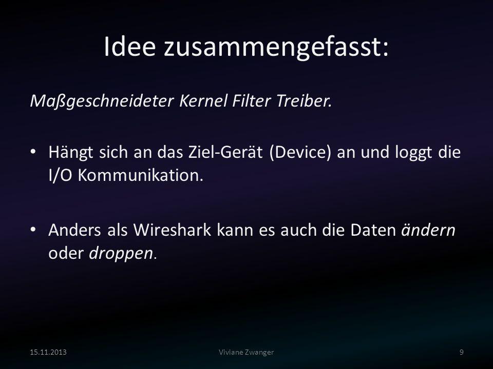 Idee zusammengefasst: Maßgeschneideter Kernel Filter Treiber. Hängt sich an das Ziel-Gerät (Device) an und loggt die I/O Kommunikation. Anders als Wir