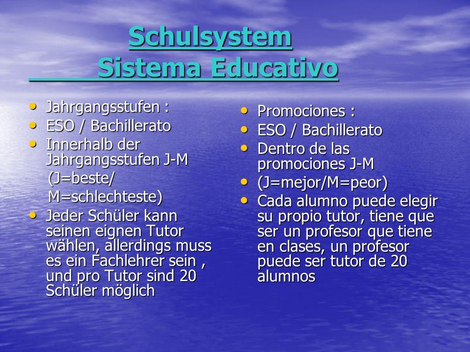 Schulsystem Sistema Educativo Schulsystem Sistema Educativo Jahrgangsstufen : Jahrgangsstufen : ESO / Bachillerato ESO / Bachillerato Innerhalb der Jahrgangsstufen J-M Innerhalb der Jahrgangsstufen J-M (J=beste/ (J=beste/ M=schlechteste) M=schlechteste) Jeder Schüler kann seinen eignen Tutor wählen, allerdings muss es ein Fachlehrer sein, und pro Tutor sind 20 Schüler möglich Jeder Schüler kann seinen eignen Tutor wählen, allerdings muss es ein Fachlehrer sein, und pro Tutor sind 20 Schüler möglich Promociones : Promociones : ESO / Bachillerato ESO / Bachillerato Dentro de las promociones J-M Dentro de las promociones J-M (J=mejor/M=peor) (J=mejor/M=peor) Cada alumno puede elegir su propio tutor, tiene que ser un profesor que tiene en clases, un profesor puede ser tutor de 20 alumnos Cada alumno puede elegir su propio tutor, tiene que ser un profesor que tiene en clases, un profesor puede ser tutor de 20 alumnos