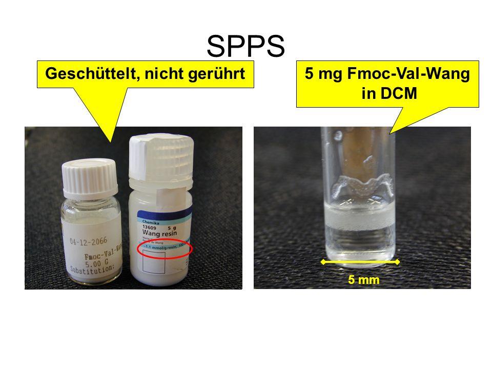 SPPS Geschüttelt, nicht gerührt 5 mg Fmoc-Val-Wang in DCM 5 mm